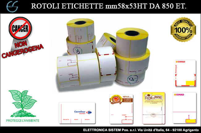Etichette Termiche Agrigento, Palermo, Caltanissetta, Trapani